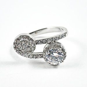 Jewelry - Elegant Duo Wrap Design Micro CZ Silver Ring